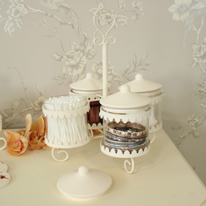 Cream Metal Jar Storage Stand