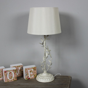 Cream Metal Leaf Table Lamp