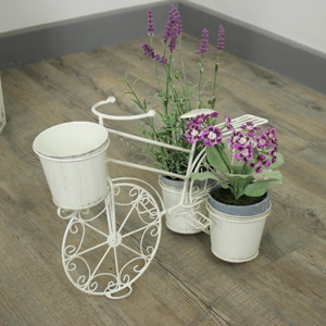 Cream Ornamental Bicycle Plant Holder