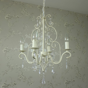 Cream Ornate Four Lamp Chandelier With Droppers