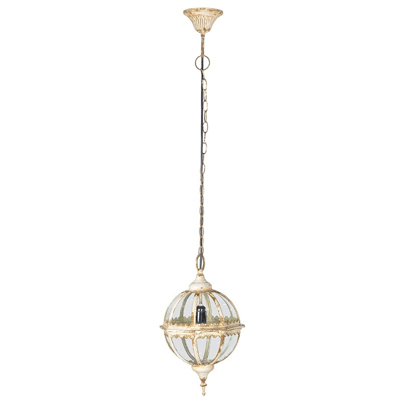 Cream Ornate Globe Pendant Light