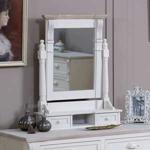 Cream Swing Mirror with Drawer Storage - Lyon Range 15cm x 68cm