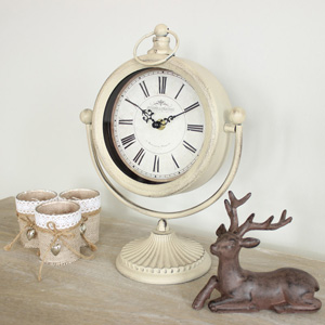 Grey/Taupe Mantel Clock on Stand