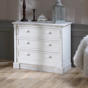 Cream Three Drawer Chest of Drawers - Lyon Range