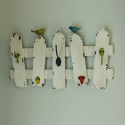 Cream Wall Hooks With Bird and Fence Design