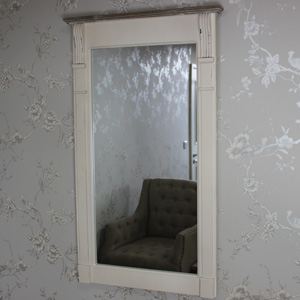 Cream Slim Wall Mounted Mirror - Lyon Range 99.5cm x 60cm