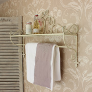 Cream Wall Shelf With Towel and Clothes Rail