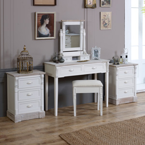 Cream Wood Dressing Table, Mirror, Stool Set with 2 Bedside Chests - Lyon Range