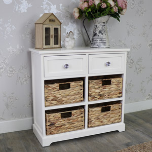 Cream Wood & Wicker 6 Drawer Basket Storage Unit - Hereford Crystal Cream Range