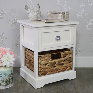 Cream Wood & Wicker Vintage Style Basket Storage Unit - Hereford Crystal Cream Range