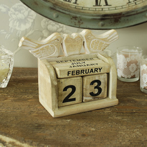 Cream Wooden Bird Block Calendar