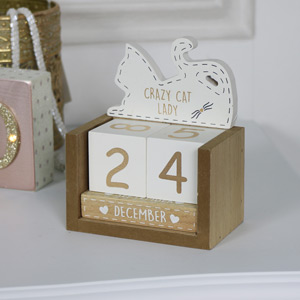 Cream Wooden Cat Perpetual Calendar