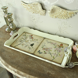 Cream Wooden Decorative Butterfly Tiled Serving Tray
