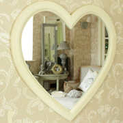 Cream Wooden Heart Shaped Wall Mirror 66cm x 66cm