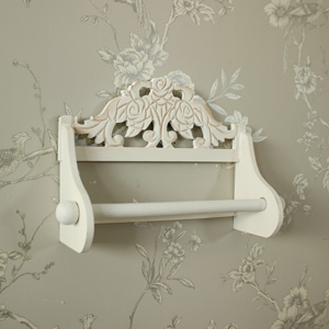 Cream Wooden Rose Detail Kitchen Roll Tissue Holder