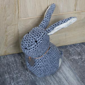 Cuddly Grey Rabbit Door Stop