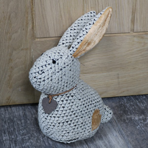 Cuddly White Rabbit Door Stop