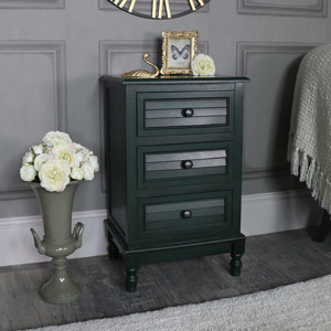 Dark Green 3 Drawer Bedside Chest – Verde Range