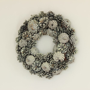 Dark Green Glitter Pine Cone Wreath