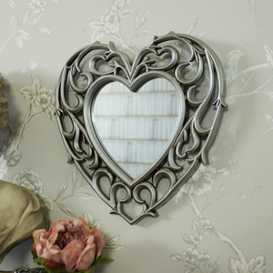 Decorative Silver Filigree Heart Shaped Wall Mounted Mirror 25.5cm x 25cm