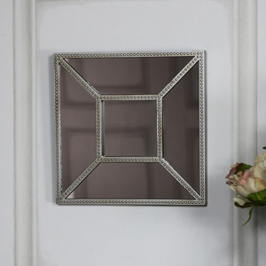Decorative Square Panelled Silver Wall Mirror