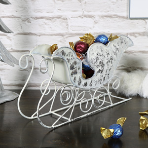 Decorative White Metal Sleigh