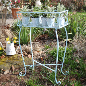 Duck Egg Blue Metal Plant Stand