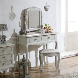 Dressing Table, Mirror & Stool - Elise Grey Range