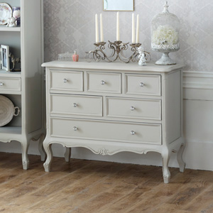 Elise Grey Ornate Large Six drawer chest