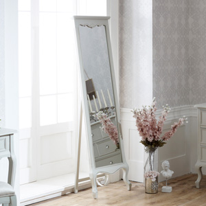 Tall Ornate Free Standing Cheval Mirror - Elise Grey Range 50cm x 168cm