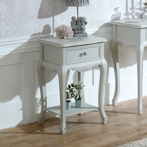 Ornate Grey One Drawer Lamp Table - Elise Grey Range