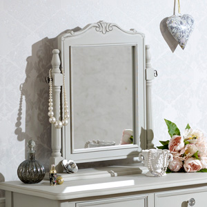 Grey Dressing Table Vanity Swing Mirror - Elise Grey Range 17.5cm x 24cm