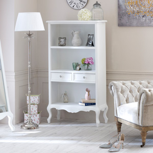 Elise White Range - Bookcase with Drawers