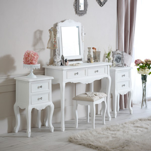 Elise White Range - Furniture Bundle, Dressing Table, Mirror, Stool & 2 Bedside Tables