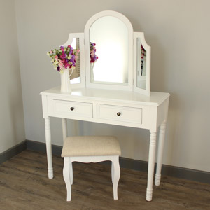 Eliza White Range - Dressing Table , Triple mirror and stool