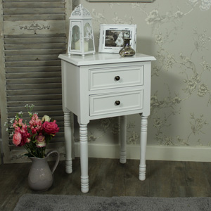Eliza White Range - Two Drawer Bedside Table
