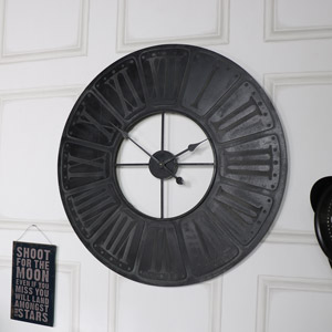 Clocks pictures plaques vintage style skeleton melody extra large black wooden wall clock gumiabroncs Image collections