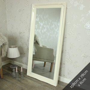 Extra Large Cream Ornate Wall/Floor Mirror 158cm x 78cm