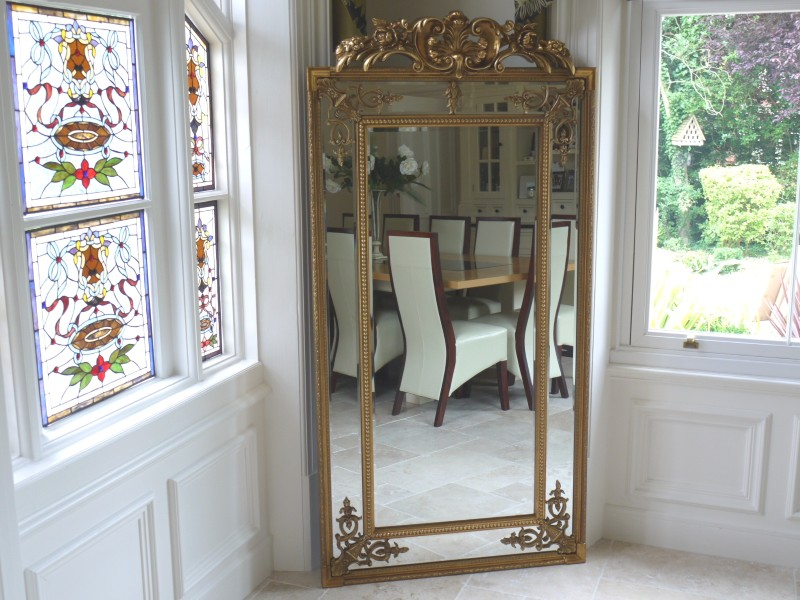 Extra Large Ornate Antique Gold Full Length Wall Mirror