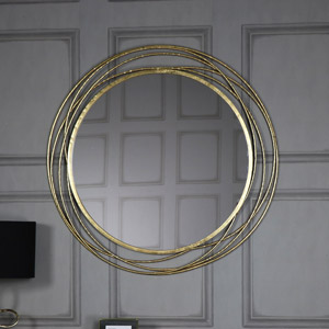 Gold leaf effect wall mirror melody maison for Extra large round mirror