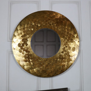 Extra Large Round Antique Gold Scale Mirror 81cm x 81cm