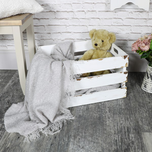 Extra Large White Wooden Storage Crate