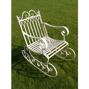 Antique White Garden Rocking Chair