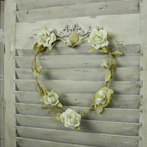Fabric Cream Rose Love Heart Hanging Wreath