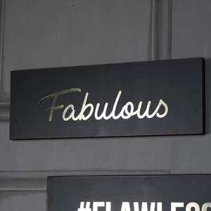 'Fabulous' Black and Gold Wall plaque