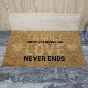 Family &  Love Coir Door Mat