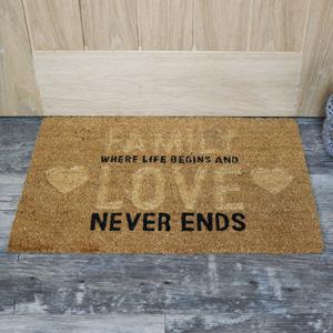 'Family Where Life Begins...' Coir Door Mat