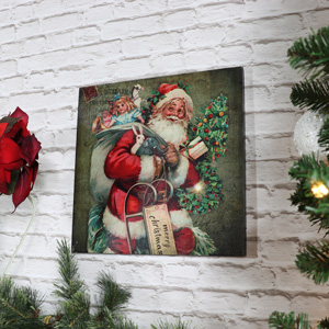 Father Christmas Light Up Wall Canvas