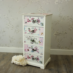 Floral Bird Fronted 5 Drawer Chest of Drawers
