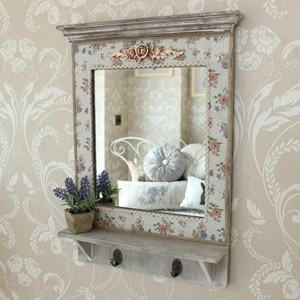 Floral Wooden Wall mirror With Hooks